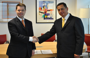 Home Office Security Minister James Brokenshire and Peruvian Vice Interior Minister Ivan Vega Loncharich