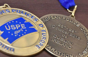 Image of European Police Marathon Championships Medal Photo: Home Office. All rights reserved