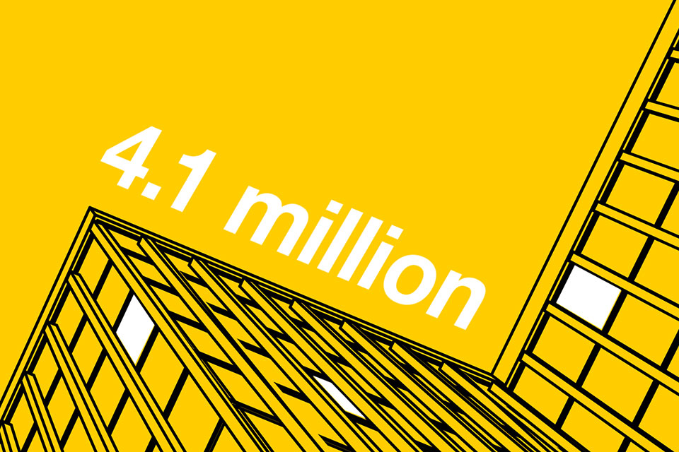 Silhouette of an office building on a yellow background with '4.1 million' text.