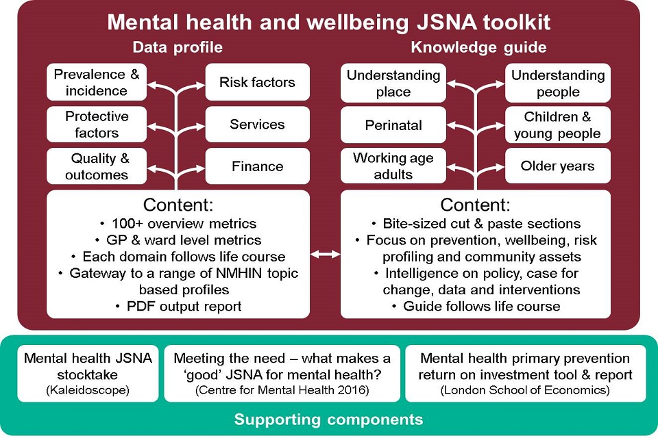 Infographic showing outline of JSNA mental health and wellbeing knowledge guide