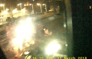 Image from forward facing CCTV showing the incident. Note: the bright spots are light reflections (image courtesy of West Midland Trains)