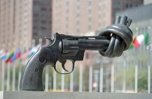 """Non-Violence"" by the noted Swedish sculptor Carl Fredrik"
