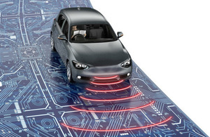 Conceptual illustration of digital connectivity in a road car.