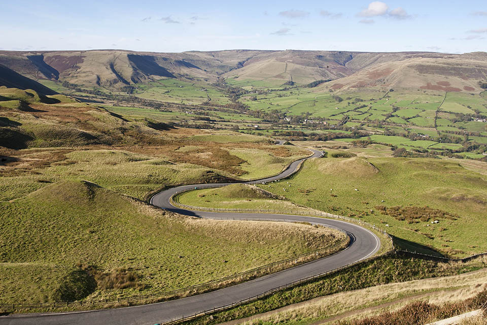 Environment bill policy paper - photo of open countryside with a road running through Edale Valley (Peak district)