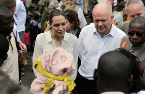 Foreign Secretary William Hague and UNHCR Special Envoy Angelina Jolie visit Lac vert camp, March 2013
