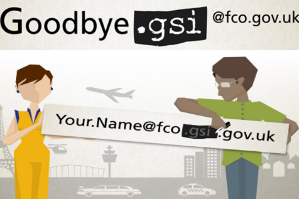 Landscape of 2 people holding a sign saying 'goodbye gsi'