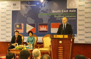 The British Ambassador Mark Gooding speaks at the opening of the workshop