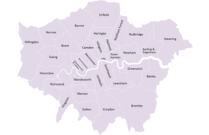 London Councils map of London boroughs