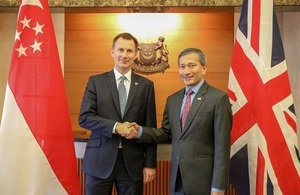 UK Foreign Secretary, Jeremy Hunt and Minister of Foreign Affairs for the Republic of Singapore, Vivian Balakrishnan launch the Singapore-UK 'Partnership for the Future'.