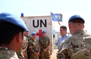 Gavin Williamson meeting troops in Bentiu. Crown copyright.