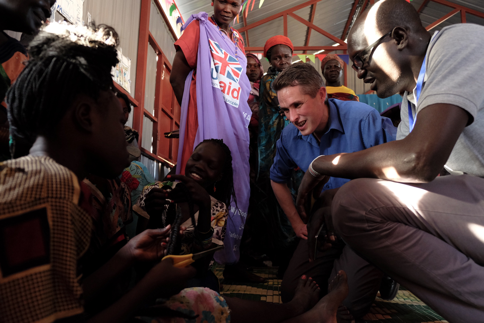 Gavin Williamson visiting a UK aid funded female only safe space which has been created for victims of sexual violence.