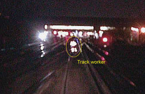 Image from forward facing CCTV camera on approaching train (courtesy of Govia Thameslink Railway)