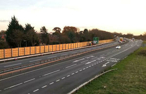 Noise barriers on the A1 in Nottinghamshire