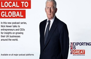 Image of Nick Hewer and Exporting is GREAT logo