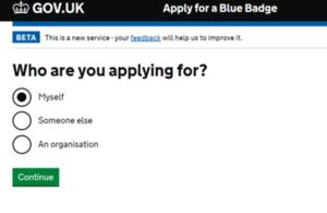 Blue Badge online system.