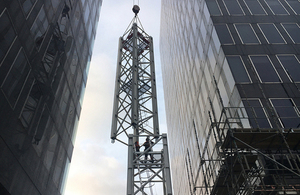 The project's first tower crane in action at Euston.