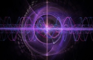 Black background with purplecircluar waves filling the image