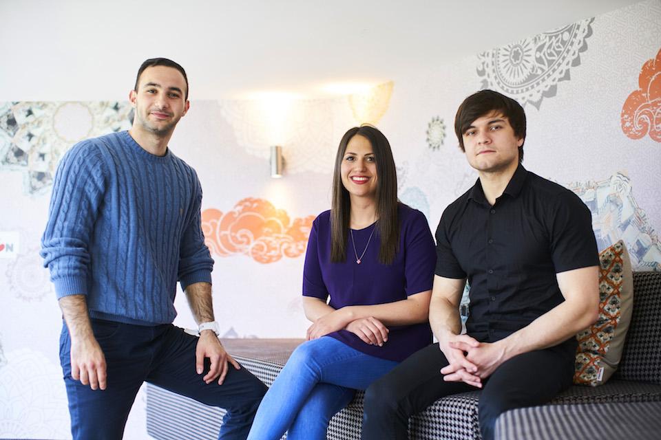 Tawfiq Abu-Khajil, Rawan Abu Ishira, Amur Anzorov, co-founders of Halalivery.