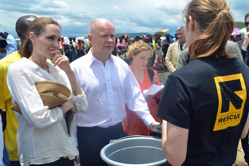 William Hague and Angelina Jolie at Nzolo displacement camp, near Goma, eastern Democratic Republic of Congo.