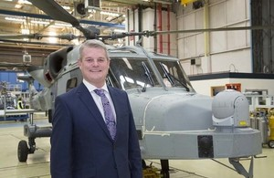 Defence Minister Stuart Andrew at Leonardo Helicopters in Yeovil