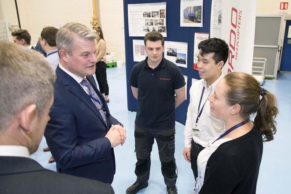 Defence Minister Stuart Andrew meeting Leonardo apprentices