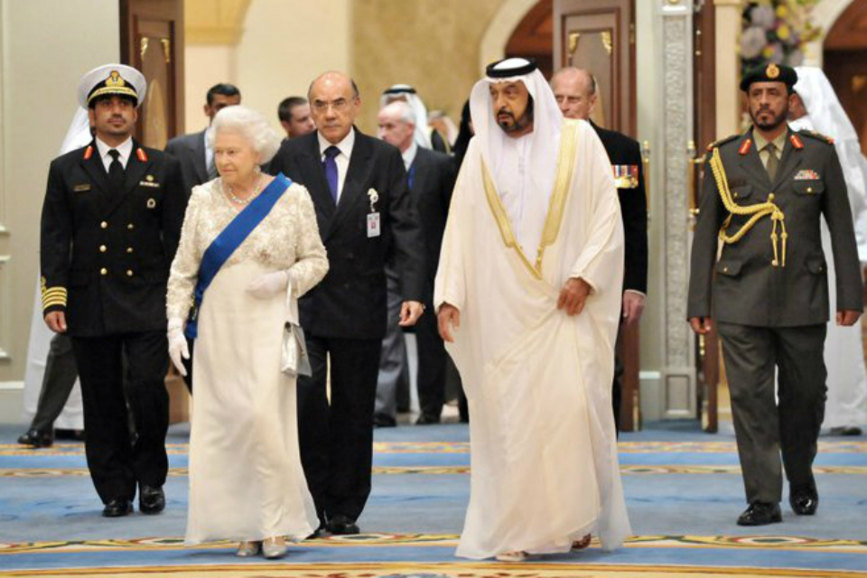 The Queen and the President of the UAE at State Banquet held at Mushrif Palace in 2010