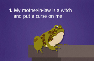 Image of a frog with the caption 'my mother-in-law is a witch and put a curse on me'/'Mae fy mam-yng-nghyfraith yn wrach a melltithiodd hi fi'.