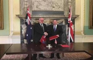 International Trade Secretary Dr Liam Fox and Australian High Commissioner to the UK, HE The Rt Hon George Brandis