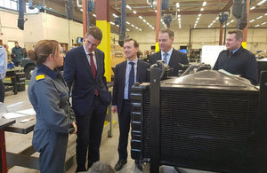Defence Secretary, Welsh Secretary and Minister Adams meet trainees at RAF St. Athan