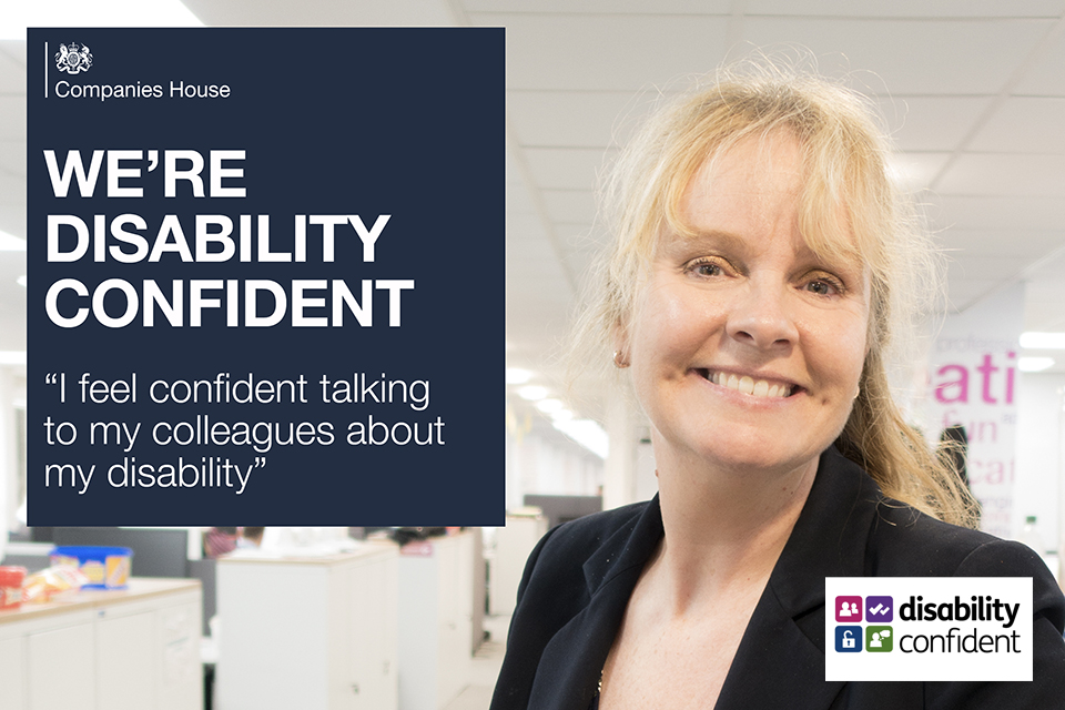 Female smiling against an office backdrop with the text 'we're disability confident' and 'I feel confident talking to my colleagues about my disability'.
