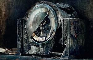 A fire damaged clock