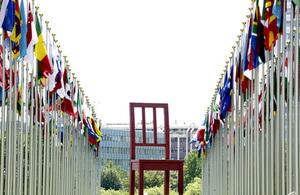 Flags and Chair UN Geneva