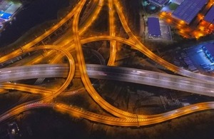 Long exposure of spaghetti junction in Birmingham via DragonSphere Photography at Shutterstock