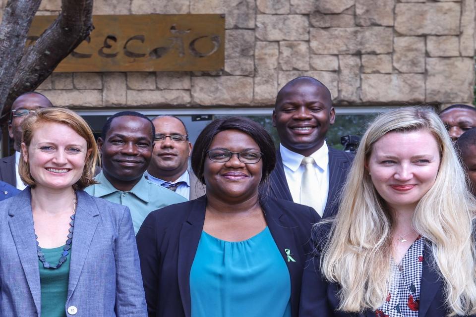 Chargé d'Affaires, Primrose Lovett, Angolan Minister of Environment, Paula Coelho, Sophie Ledger, EPI Project Manager