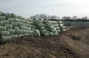 Hundreds of bales heaped on top of each other