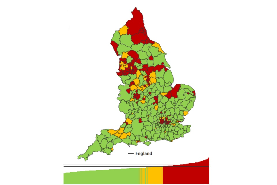 Thematic map of England districts showing the number of hospital admissions for alcohol-related conditions, under the Broad definition, per 100,000 population for persons in 2017 to 2018
