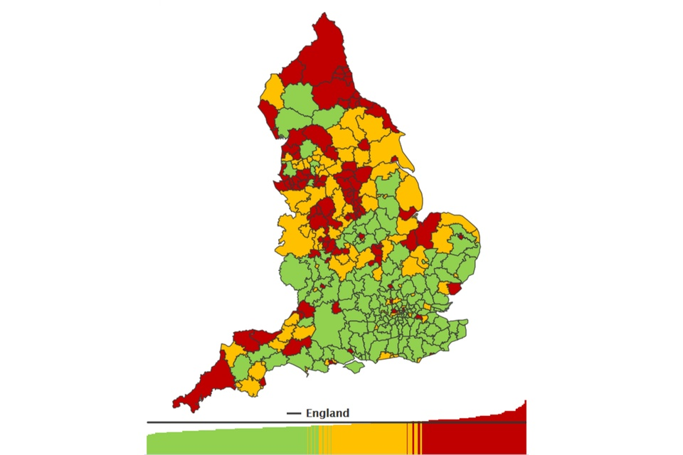 Thematic map of England districts showing the number of hospital admissions for alcohol-related conditions, under the Narrow definition, per 100,000 population for persons in 2017 to 2018