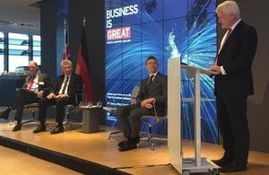 Graham Stuart addresses businesses in Düsseldorf