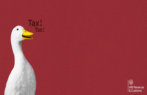 "Two ducks with a red background quacking ""tax"""