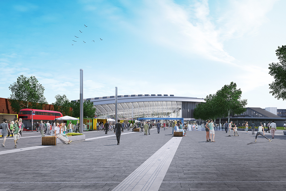 View from outside showing how Old Oak Common station might look when finished.