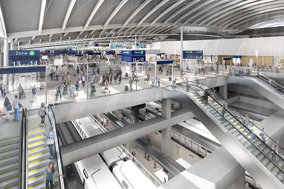 View from inside showing how Old Oak Common station might look when finished.