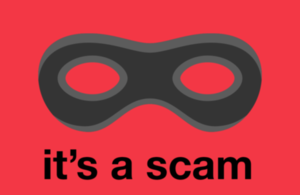 Black mask on red background with the caption 'It's a scam'