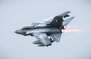The last RAF Tornado to take off on Op Shader, bringing an end to four and a half years on this operation.
