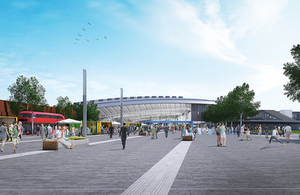 Design vision for the plaza entrance to Old Oak Common.