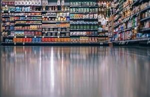 Shelves in supermarket