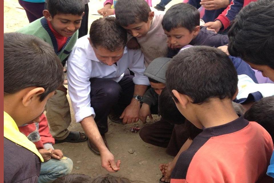 British Ambassador with Syrian refugee children in Lebanon