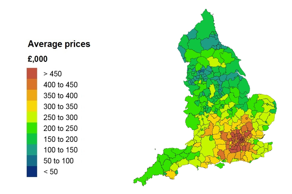 Average price by local authority for England
