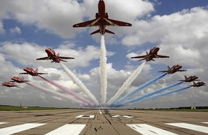 The Red Arrows are touring North America in the autumn.