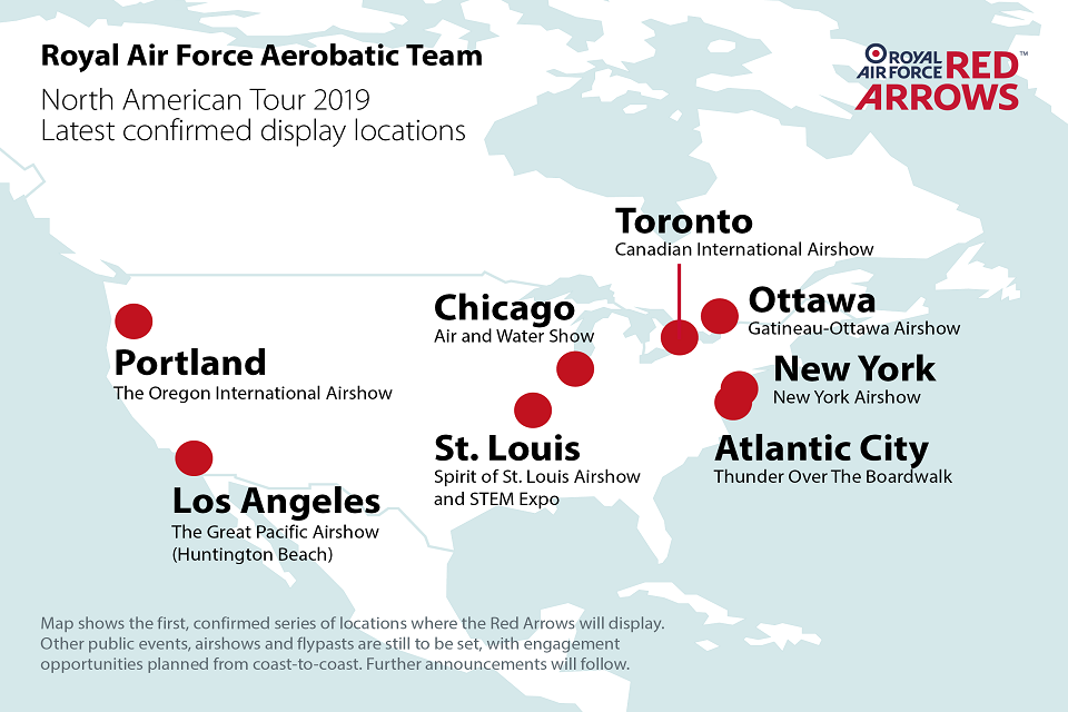 A map showing the locations of where the Red Arrows will be on display.