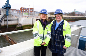 Environment Agency Chair, Emma Howard Boyd (l) & Floods Minister Thérèse Coffey (r) at the opening of the new Ipswich Tidal Barrier